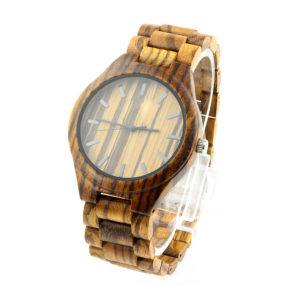 full bamboo and zebra dial hardwood watches side view picture