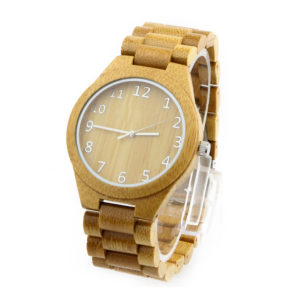 full bamboo and number round dial men's unique watches side view picture