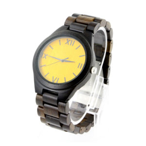 full ebony and yellow roman numerals dial bamboo cool mens watches side view picture