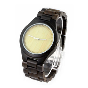 full ebony and bamboo no number dial engraved mens watches side view picture