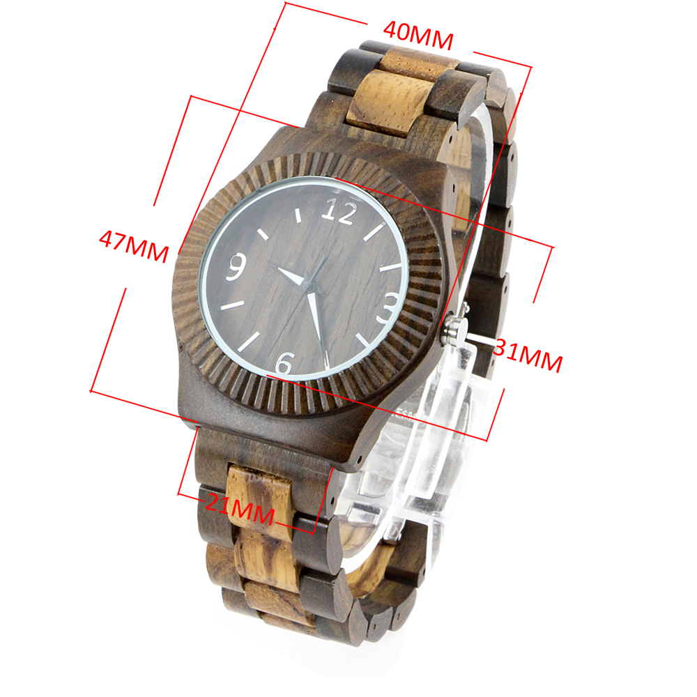 full walnut simple high-end number dial men wood watch custom size chart