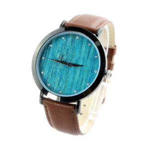 steel and leather band diamond blue bamboo dial men's custom wood watches side view picture