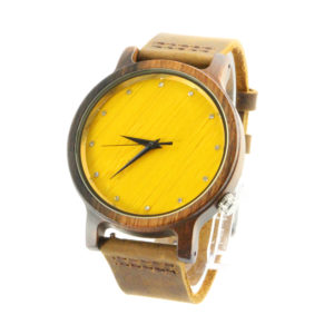 walnut and yellow bamboo handcrafted silver watches show picture