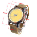 walnut and yellow bamboo handcrafted silver watches size chart