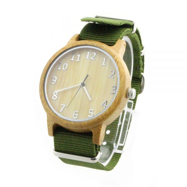 bamboo big number sport nylon strap watch boys watch side view picture
