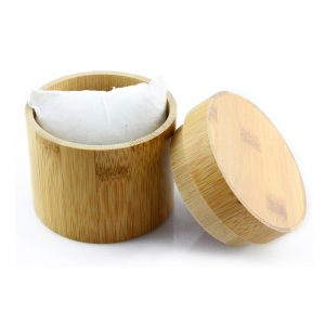 cylindrical bamboo yellow wood watch box expand picture