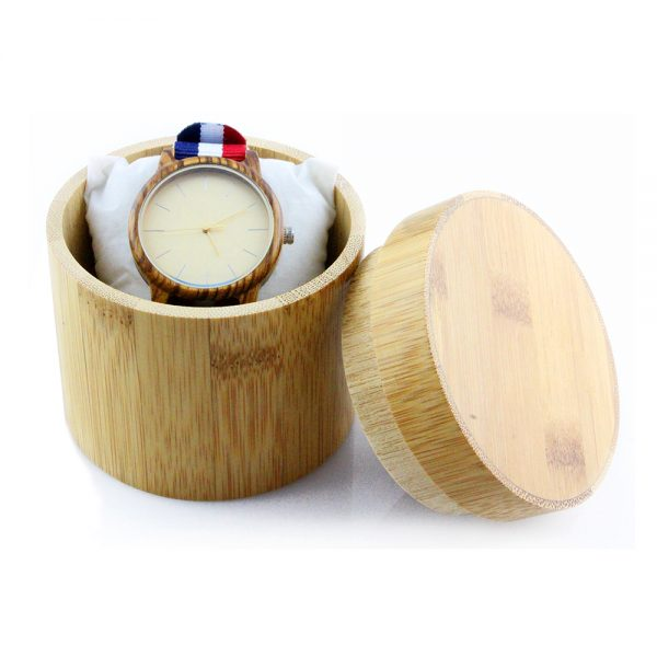 cylindrical bamboo yellow wood watch box watch comparison chart