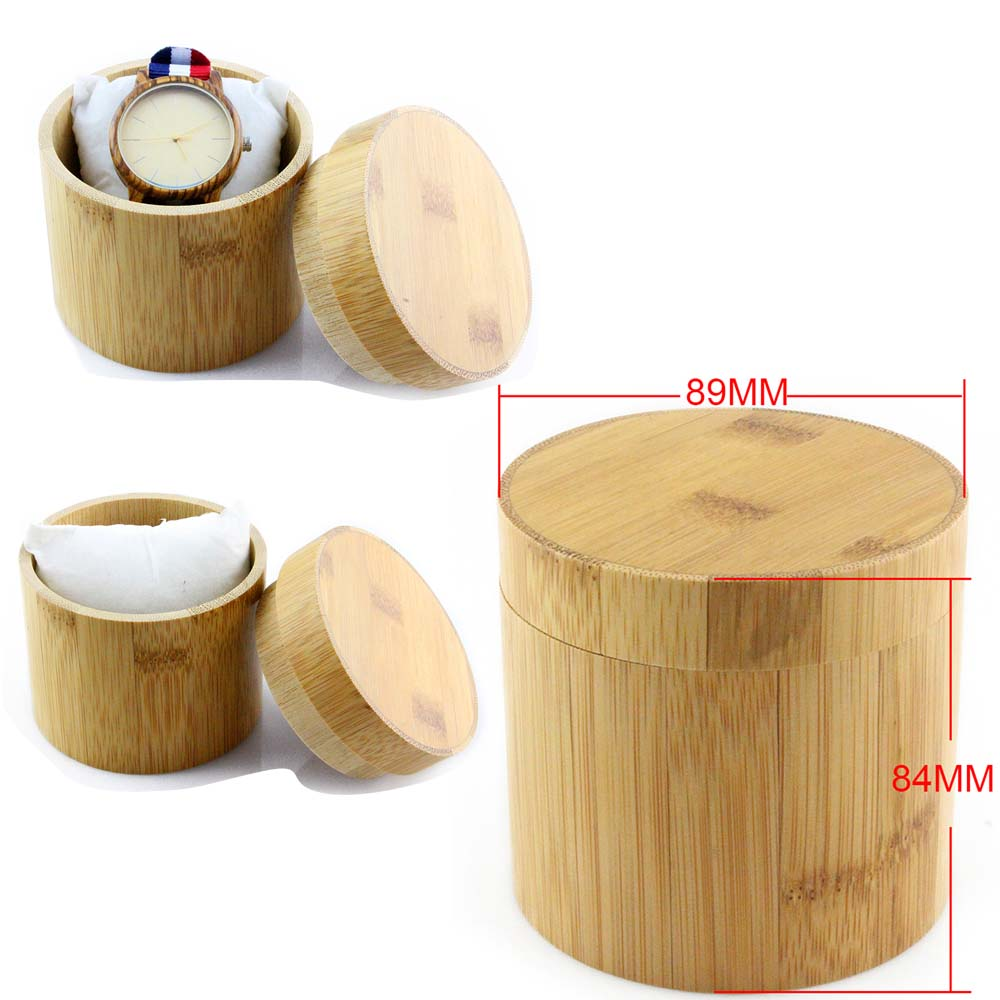 cylindrical bamboo yellow wood watch box front view picture