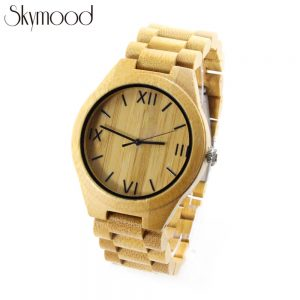 full bamboo with big roman numeral dial men watches show picture