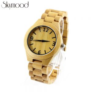 full bamboo with big number dial men ordinary watches front view picture