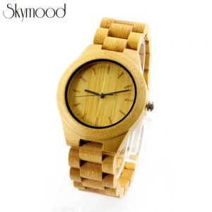 full bamboo yellow simple lady wrist watch show picture