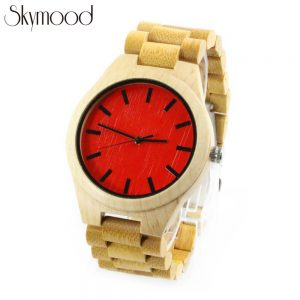 maple case and red bamboo round dial men fashion wooden watches show picture