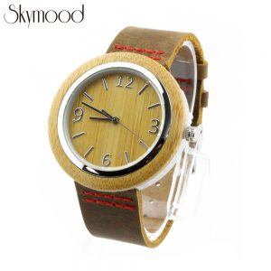 bamboo and steel big number dial women's bamboo watch leather band side view picture