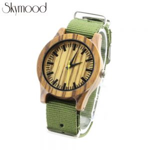 zebra wood watch nylon sport boys watch side view picture