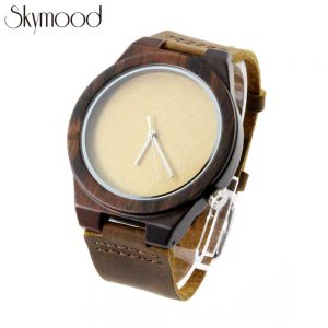 walnut case and bamboo no number dial leather band mens watch front side picture