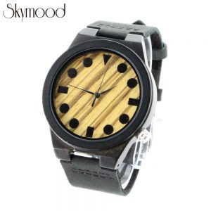 all black ebony case and zebra dial leather band men watch side view picture