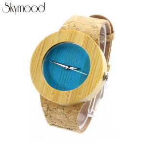 round bamboo case and blue bamboo no number dial cork strap women watch side view picture
