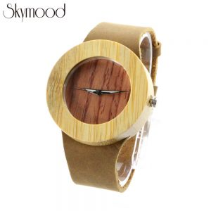 round bamboo case and walnut no number dial women simple watch side view picture