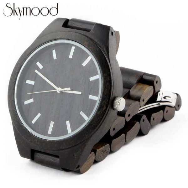 full ebony with big round dial all wood business mens watches physical picture