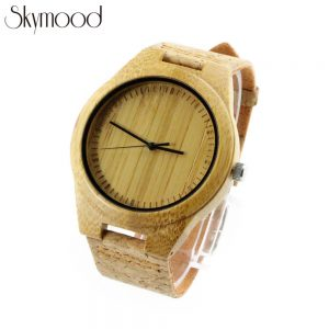 bamboo and no number big dial beige natural wooden watch cork strap physical picture