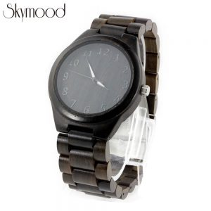 full ebony wood number dial all black wood watch show picture