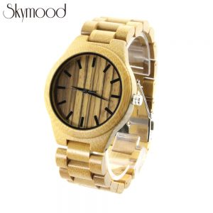 full bamboo with zebra big roman numeral dial men watches engravable wood watch show picture