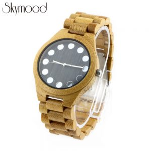 bamboo case and ebony no number dial mens watch giant wooden wrist watch side view picture