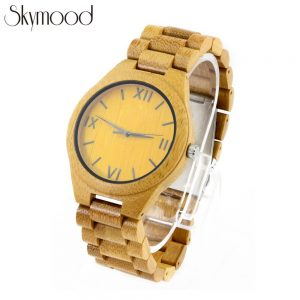 full bamboo simple women watch and roman numeral dial handmade watches side view picture
