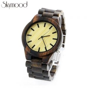 zebra wood and bamboo dial mens watch handmade wooden watches show picture