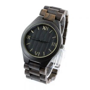 ebony case and roman numeral dial mens watches with wood side view picture
