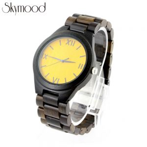 ebony and bamboo roman numeral dial organic wood watch side view picture