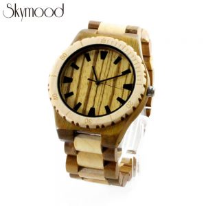 full olive wood watch with scale case zebra dial lady watch overall picture