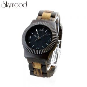 fashion mens full quality wood watches with big number dial side view picture