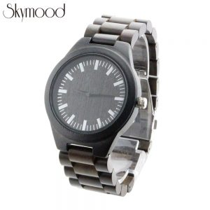 ebony mens real wood watches with round big dial show picture