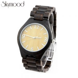 ebony high-end mens watch made entirely of wood and bamboo number dial side view picture