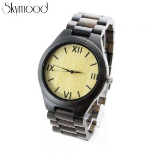 ebony and roman numeral dial watch made of wood side view picture