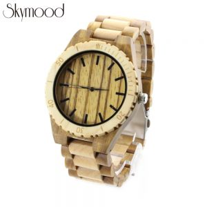 olive ring and ebony case mens watches made of wood side view picture