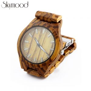 zebra round mens watches made out of wood side view picture