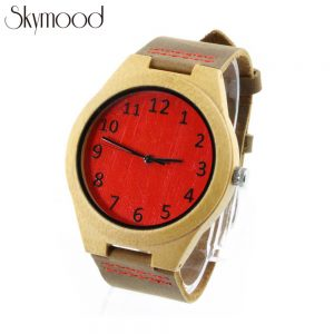 red bamboo number dial women's bamboo watch side view picture