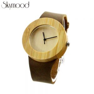 full bamboo simple round women's wooden watch leather strap side view picture