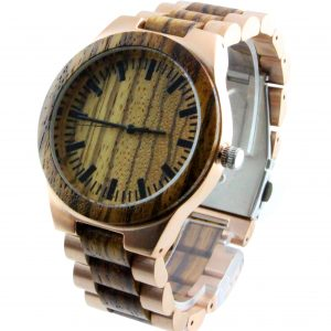 wood and stainless steel round mens watches side view picture