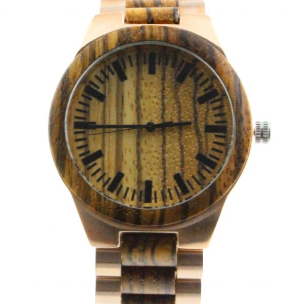 wood and stainless steel round mens watches front view picture