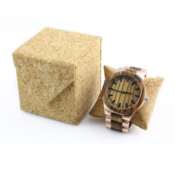 zebra and rose steel women wood and stainless steel watches physical picture