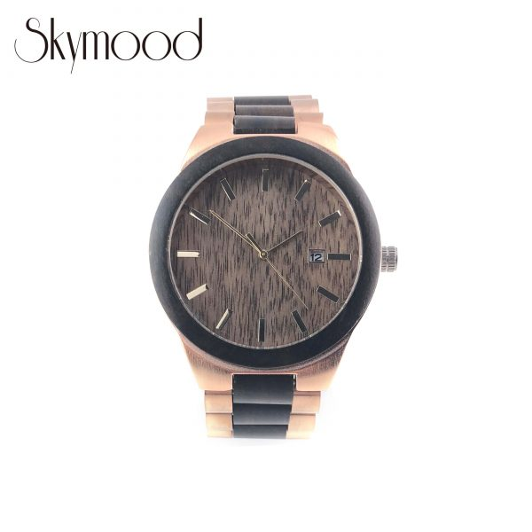 ebony and rose steel luxurious women wood and steel watch front view picture
