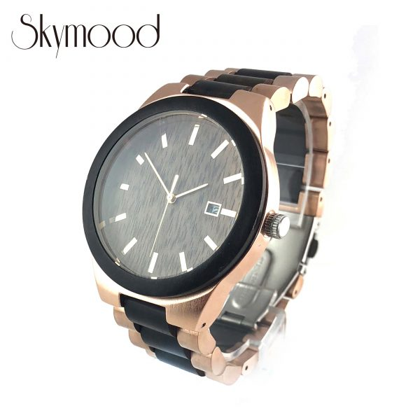 ebony and rose steel luxurious women wood and steel watch side view picture
