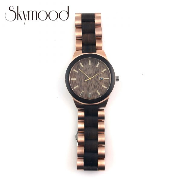 ebony and rose steel luxurious women wood and steel watch overall picture