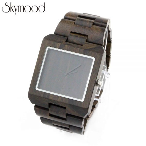 square ebony with no number dial mens wood bracelet watch physical picture