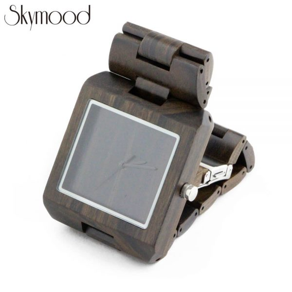 square ebony with no number dial mens wood bracelet watch side view picture