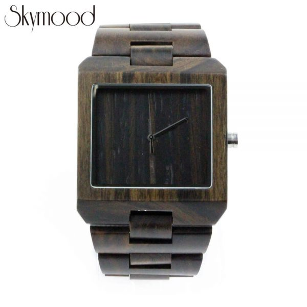 square ebony with no number dial mens wood bracelet watch front view picture