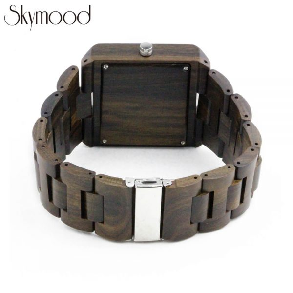 square ebony with no number dial mens wood bracelet watch rear view picture